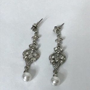 Silvertone Rhinestone Faux Pearl Dangle Earrings